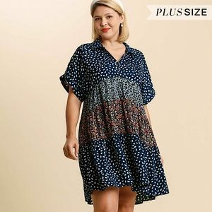 RESTOCKED Umgee Plus Navy Mix Print Boho Dress
